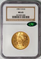 1901-S $10 Liberty -- NGC MS65