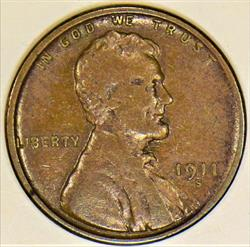 1911-S Lincoln Wheat Cent; Nice F-VF