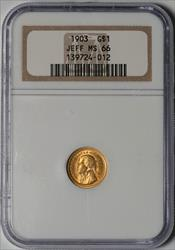 1903 Jefferson G$1 -- NGC MS66