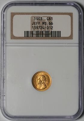 1903 Jefferson G$1 -- NGC MS66