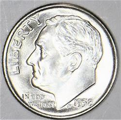1958-D Roosevelt Dime; Superb Gem BU; Frosty White!