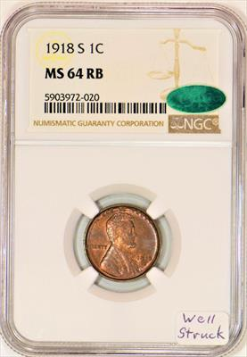 1918-S Lincoln Wheat Cent NGC MS-64 RB with CAC; Well Struck