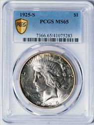 1925-S Peace Dollar -- PCGS MS65