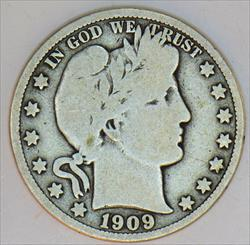 1909 Barber Half Dollar; Wholesome VG