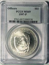 1997-P Law Officers Memorial Silver Commemorative Dollar - PCGS