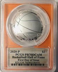 2020-P- Basketball Hall of Fame Silver Commemorative Dollar - PCGS  DCAM