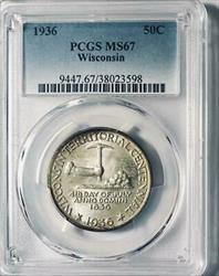 1936 Wisconsin Silver Commemorative Half Dollar - PCGS  - Mint State 67