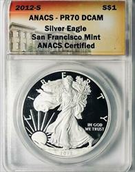 2012 S American  Eagle  ANACS  DCAM  Proof 70 Deep Cameo