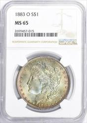 1883 O Morgan    NGC  Mint State 65  Hints of Rose in