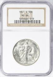 1941 S Walking Liberty Half   NGC  Mint State 64