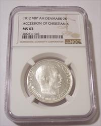 Denmark Christian X Accession 1912 VBP AH Silver 2 Kroner MS63 NGC
