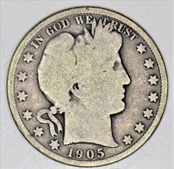 1905 Barber Half Dollar Choice Original G; Scarce, Lower Mintage