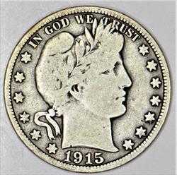1915-D Barber Half Dollar; Choice Original VG+