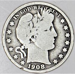 1908-S Barber Half Dollar; Decent Original VG