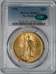 1908 $20 Saint Gaudens -- PCGS MS65+ CAC