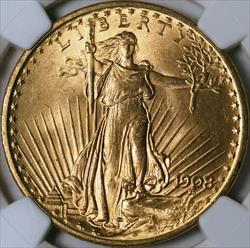 1908 $20 Saint Gaudens -- NGC MS65+ CAC
