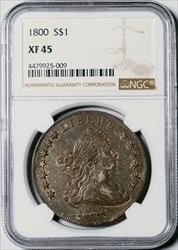 1800 Draped Bust Dollar -- NGC XF45
