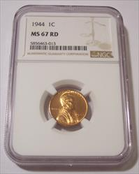 1944 Lincoln Wheat Cent MS67 RED NGC