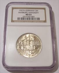 Germany - Weimar Republic - 1927 A Silver 3 Reichsmark 400th Anniversary of Philipps University at Marburg MS63 NGC