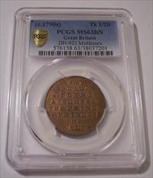 Great Britain c 1790's 1/2 Penny Conder Token Middlesex D&H-923 MS63 BN PCGS
