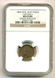 Civil War Patriotic Token 1864 Union For Ever F-49/343a MS65 BN NGC