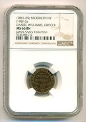Civil War Token (1861-65) Brooklyn NY Daniel Williams - Grocer F-95F-3a R6 MS66 BN NGC