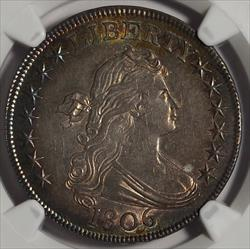 1806 Bust Half Dollar, Pointed 6 Stem -- NGC MS64