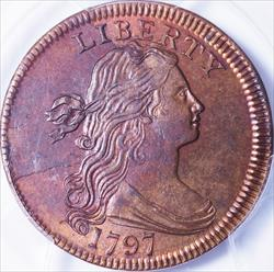 1797 Large Cent Reverse of 1797, Stems to Wreath -- PCGS MS65RB