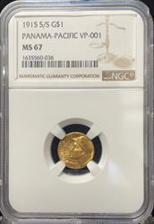 1915-S G$1 Panama-Pacific MS67 NGC