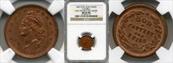 1863 Token F-5/288a Copper God Protect The Union MS65BN NGC