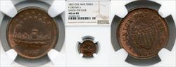 1863 Token F-240/341 Copper Union For Ever MS66RB NGC