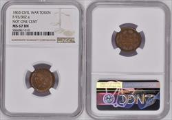 1863 Token F-93/362 Copper Not One Cent MS67BN NGC