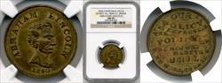 1860 Abraham Lincoln Campaign Medal DEWITT-AL-1860-57 AU55 NGC
