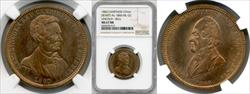 1860 Lincoln & Bell Campaign Medal DEWITT-AL-1860-54 MS67 RB NGC