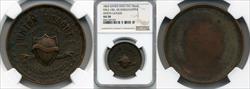 1863 Union League Civil War Dog Tag M&S-18A AU50 NGC
