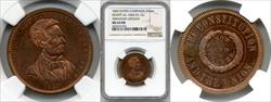 1860 Abraham Lincoln Campaign Medal DEWITT-AL-1860-53 MS64 RB NGC