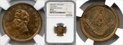 1864 Abraham Lincoln Civil War Token Masonic Emblem F-127/252 d MS64 NGC