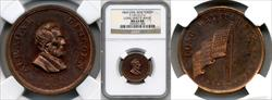 1864 Abraham Lincoln Civil War Token Long May it Wave F-131/217 a MS63 RB NGC