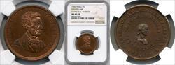 1860 Abraham Lincoln/Charles K. Warner Store Card MS65 RB NGC