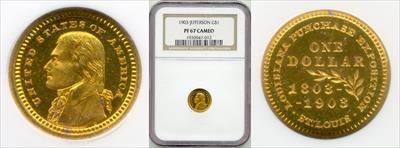 1903 G$1 LA Purchase McKinley PR67CAM NGC