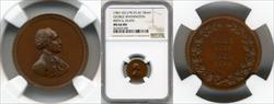 1861-1862 Washington Birth & Death Medal J-PR-25 AE 18mm MS66 BN NGC