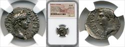 33/4 AD Tiberius and Drusus Silver Drachm NGC CH XF Strike 3 Surface 2