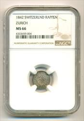 Switzerland - Zurich 1842 Rappen MS66 NGC