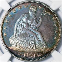 1874 Arrows Seated Liberty Half Dollar -- NGC PF67