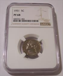 1951 Jefferson Nickel Proof PF68 NGC