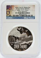 2018-W United States WW1 Navy Silver Medal NGC  Ultra Cameo - US Mint JC876