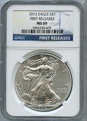 2012 American  Eagle 1 oz NGC First Releases $1 JK073