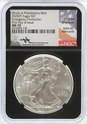 2020 (P) Emergency  Eagle 1 oz NGC First Day Mercanti Signed  JL54