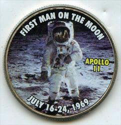 2015 D Kennedy Half  Apollo 11 First Man on Moon Colored   BP524