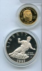 1997 Jackie Robinson 50th Anniversary Commemorative Silver & Gold Proof - RC720